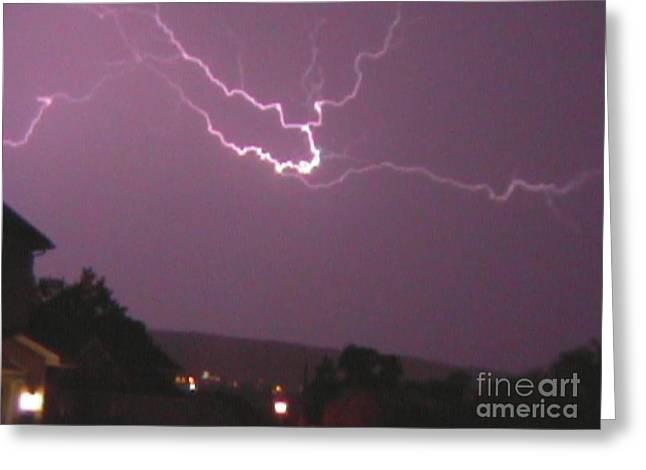 Photography Lightning Digital Art Greeting Cards - Lightning Strike Seven Greeting Card by Daniel Henning