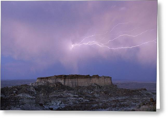 Lightning Strikes Above A Butte Greeting Card by Joel Sartore
