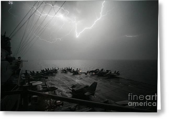 Lightning Strike Paintings Greeting Cards - Lightning Strikes Greeting Card by Celestial Images