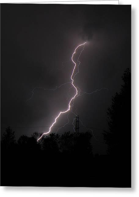 Lightning Strike Greeting Cards - Lightning Strikes Greeting Card by Scott Hovind