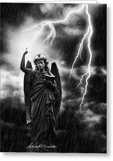 Stone Carving Greeting Cards - Lightning Strikes the Angel Gabriel Greeting Card by Amanda And Christopher Elwell