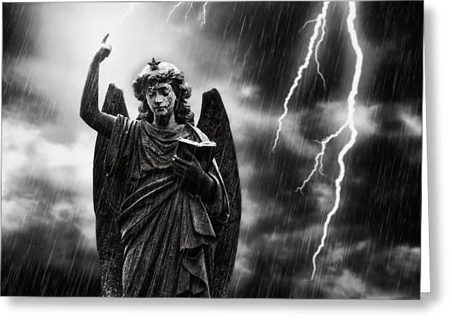 Lightning Strikes the Angel Gabriel Greeting Card by Amanda And Christopher Elwell