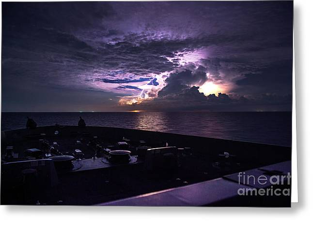 Lightning Strike Paintings Greeting Cards - Lightning strikes the water  Greeting Card by Celestial Images