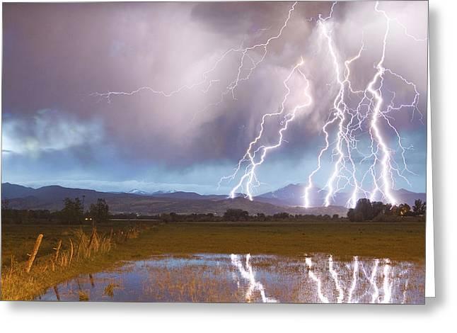 Flash Greeting Cards - Lightning Striking Longs Peak Foothills 4 Greeting Card by James BO  Insogna