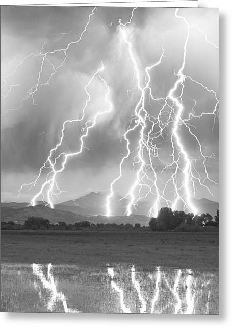 Best Sellers -  - Storm Prints Greeting Cards - Lightning Striking Longs Peak Foothills 4CBW Greeting Card by James BO  Insogna