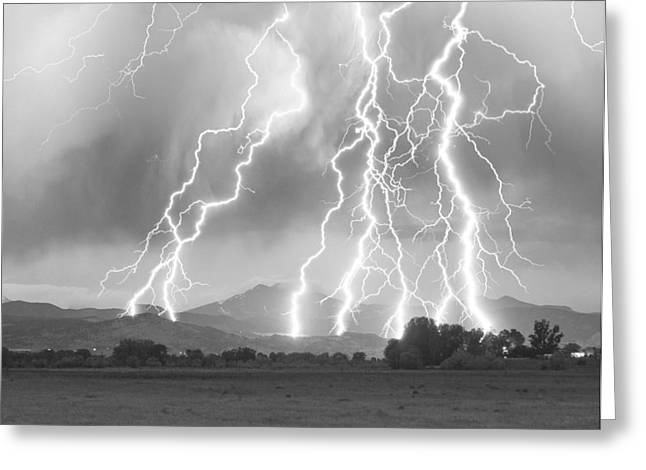 Lightning Striking Longs Peak Foothills 4CBW Greeting Card by James BO  Insogna