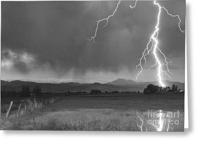 Flash Greeting Cards - Lightning Striking Longs Peak Foothills 5BW Greeting Card by James BO  Insogna