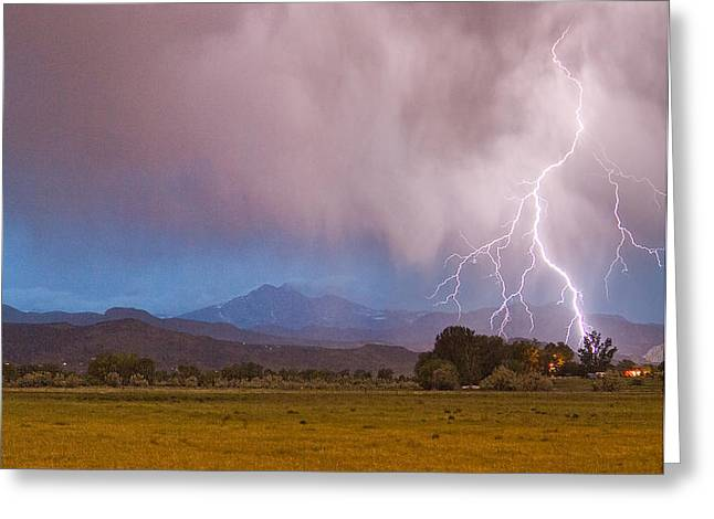 Lightning Striking Longs Peak Foothills 7C Greeting Card by James BO  Insogna