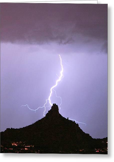 Arizona Lightning Greeting Cards - Lightning Striking Pinnacle Peak Scottsdale AZ Greeting Card by James BO  Insogna