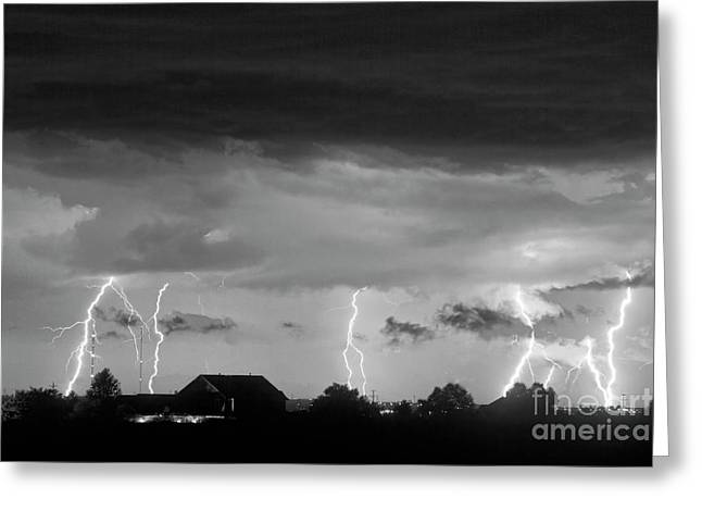 The Lightning Man Greeting Cards - Lightning Thunderstorm July 12 2011 Strikes over the City BW Greeting Card by James BO  Insogna