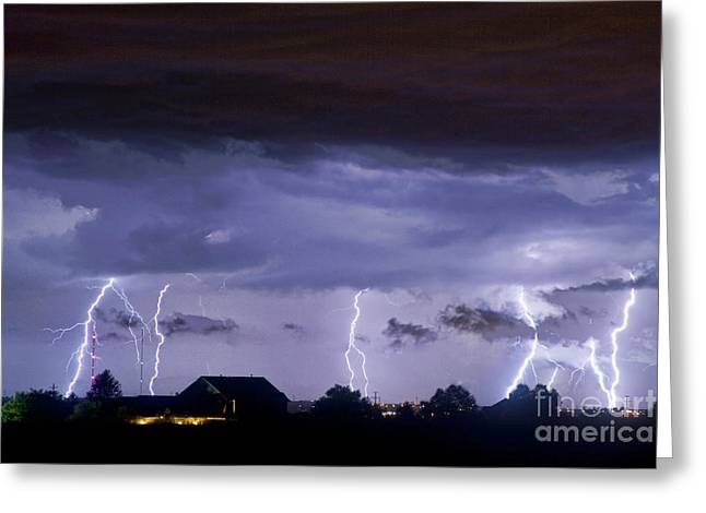 Lightning Thunderstorm July 12 2011 Strikes Over The City Greeting Card by James BO  Insogna