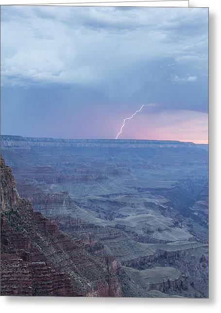 The Grand Canyon Greeting Cards - Lightning with the Grand Canyon Sunset Greeting Card by John McGraw