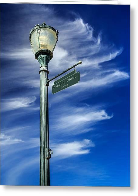 Lightposts Greeting Cards - Lightpost On Dancing Cloud Lane Greeting Card by James Eddy