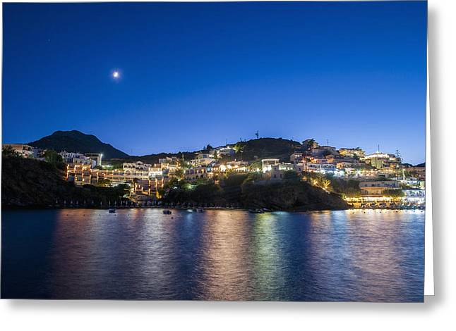 Sea Moon Full Moon Greeting Cards - Lights Illuminate The City And Reflect Greeting Card by Dosfotos