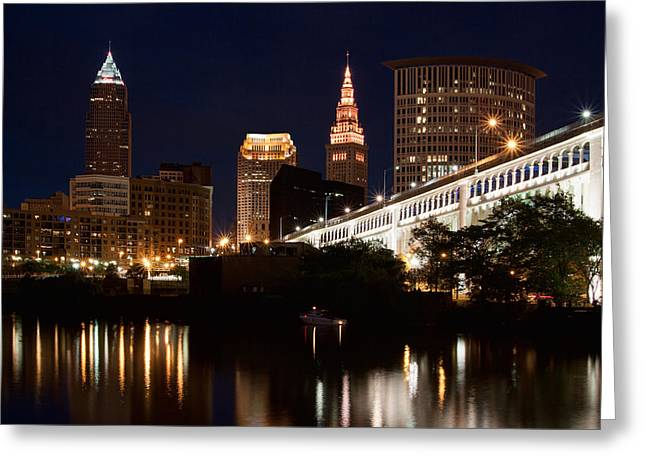 Cuyahoga River Greeting Cards - Lights In Cleveland Ohio Greeting Card by Dale Kincaid
