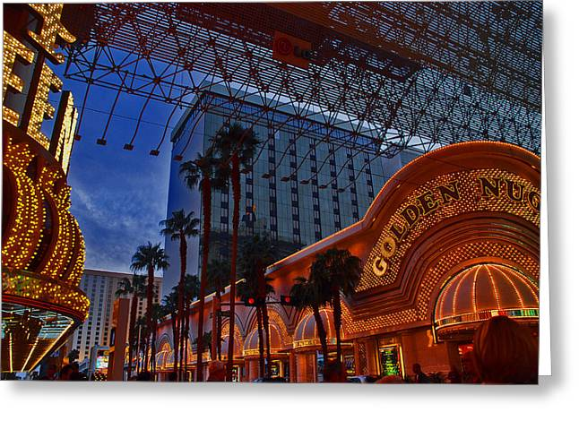 Show Time Greeting Cards - Lights in Down Town Las Vegas Greeting Card by Susanne Van Hulst