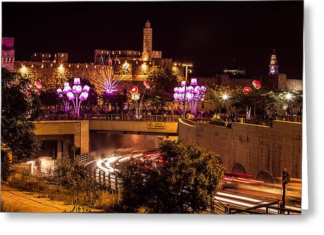 Modern Photographs Greeting Cards - Lights in Jerusalem Greeting Card by Mark Perelmuter