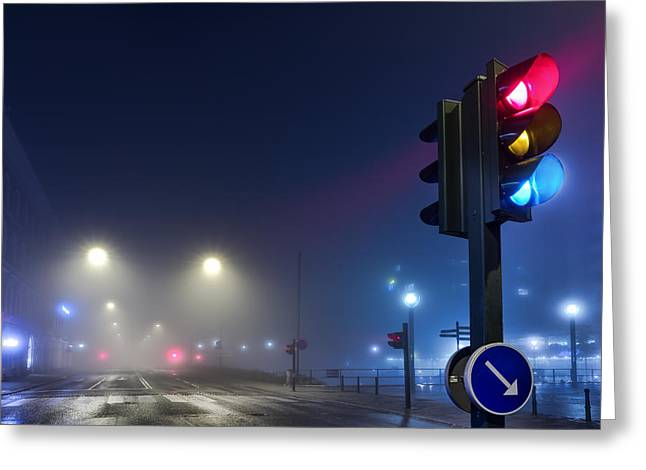 Lights In The Mist Greeting Card by EXparte SE