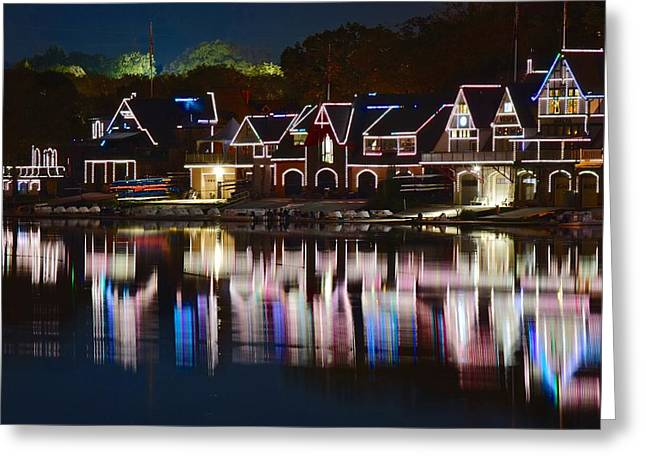 Lights Of Boathouse Row Greeting Card by Frozen in Time Fine Art Photography