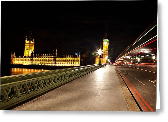 Night Lamp Greeting Cards - Lights of London Greeting Card by Nicolas Raymond