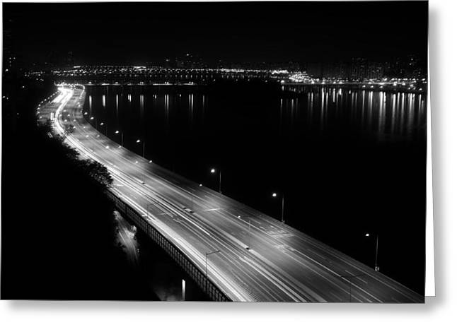 Seoul Greeting Cards - Lights of Olympic Boulevard - Seoul Greeting Card by Orsttrs