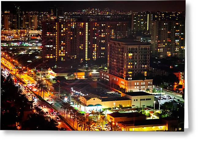Lights Of Sunny Isles Greeting Card by Karen Wiles