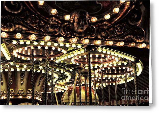 Winter Night Greeting Cards - Lights of the Carousel Greeting Card by John Rizzuto