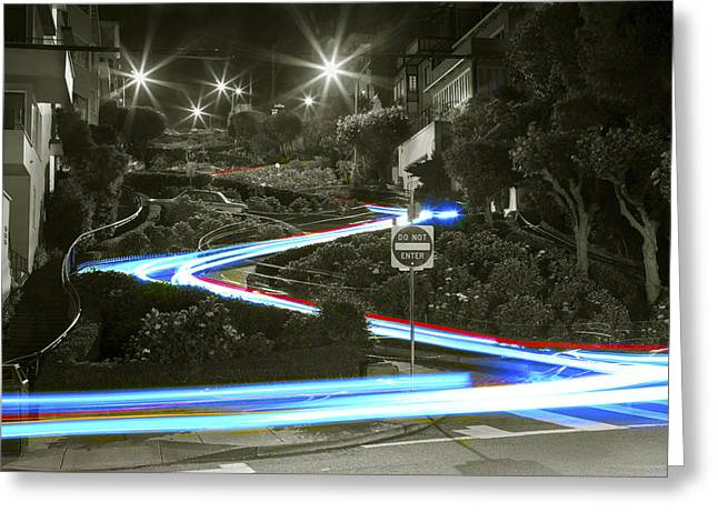 Urban Images Greeting Cards - Lights on Lombard Black and White Greeting Card by Bryant Coffey