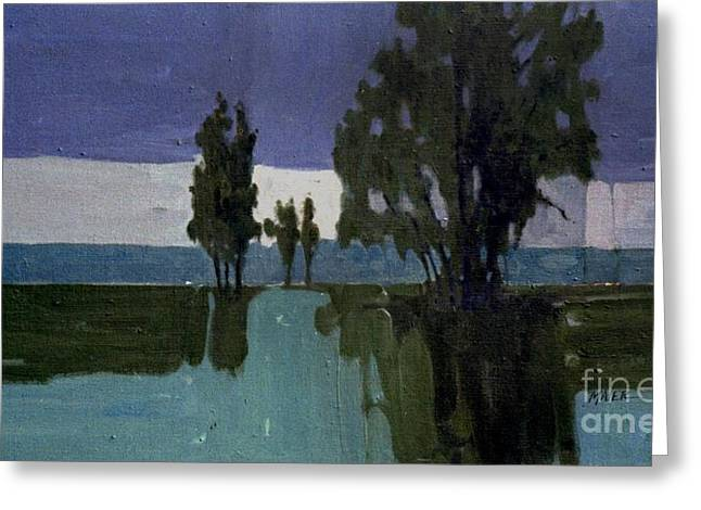 Nocturnal Paintings Greeting Cards - Lights on the Horizon Greeting Card by Donald Maier
