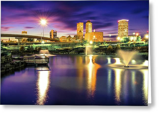 Lights Over Downtown Tulsa Skyline Greeting Card by Gregory Ballos