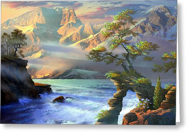 Surreal Landscape Mixed Media Greeting Cards - LightShaft Greeting Card by Ken Shotwell