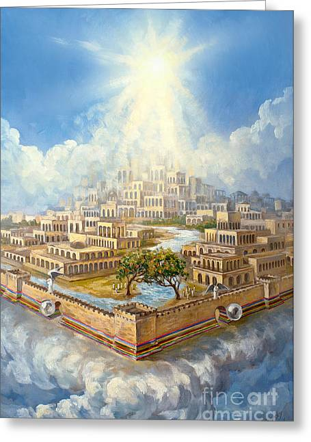 The Leaver Greeting Cards - New Jerusalem Israel Original Oil on Canvas Signed Greeting Card by Vigovsky