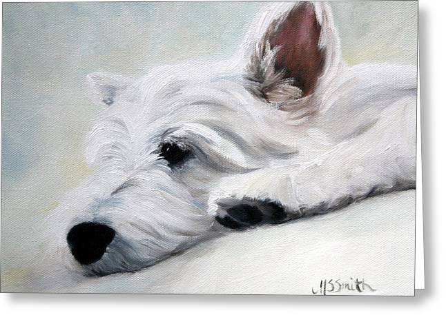 Westie Art Greeting Cards - Like an Angel Greeting Card by Mary Sparrow