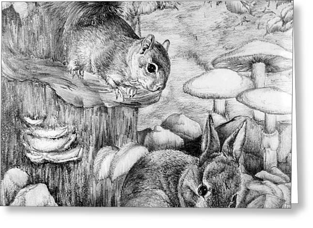 Kaelin Drawings Greeting Cards - Lil Kit and Bunny Greeting Card by Roy Kaelin