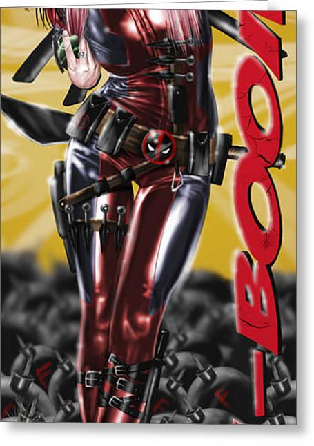 Latex Greeting Cards - Lil Miss Deadpool Greeting Card by Pete Tapang