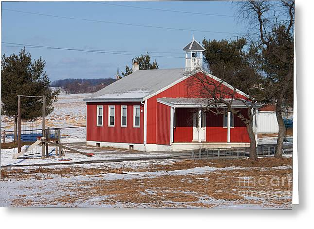 Red School House Greeting Cards - Lil Red School House Greeting Card by Robert Sander