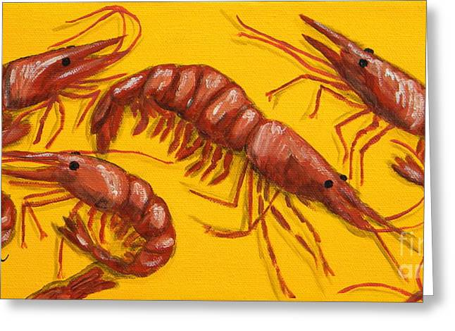 Florida Seafood Greeting Cards - Lil Shrimp Greeting Card by JoAnn Wheeler