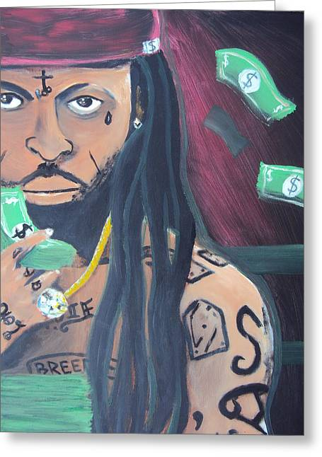 Lil Wayne Portrait For Sale Greeting Cards - Lil Wayne Diptych no. 2 Greeting Card by Casey P