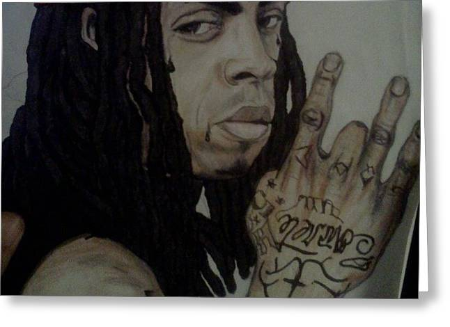 People Pyrography Greeting Cards - Lil Wayne Greeting Card by Lorenzo Flynn