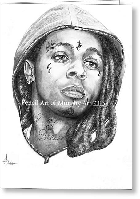Musicans Greeting Cards - Lil Wayne Greeting Card by Murphy Elliott