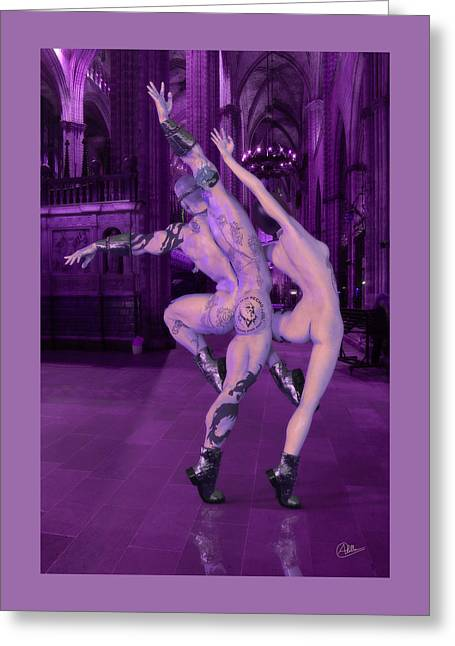 Female Body Greeting Cards - Lila Dance of Adam and Eve Greeting Card by Joaquin Abella