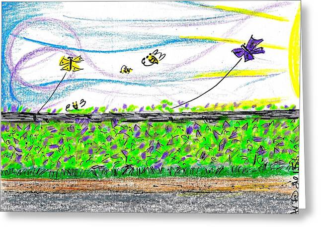 Kite Greeting Cards - Lilac Buzz Greeting Card by David Flowers