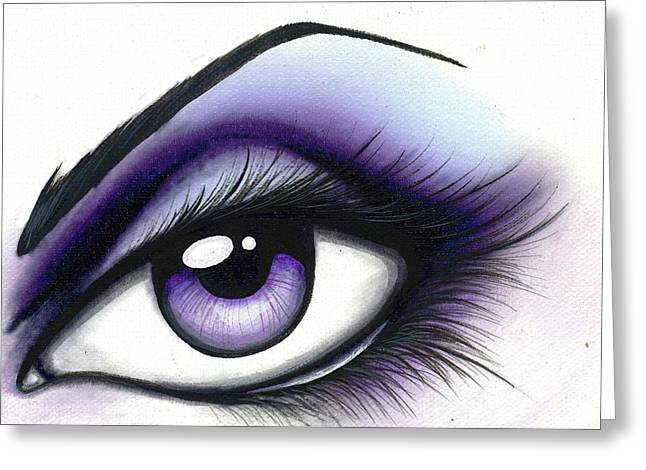 Eyes Paintings Greeting Cards - Lilac Greeting Card by Elaina  Wagner
