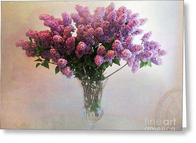 Glass Vase Greeting Cards - Lilac Vase On Table Greeting Card by Bedros Awak