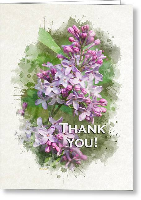 Inside You Greeting Cards - Lilac Watercolor Thank You Card Greeting Card by Christina Rollo