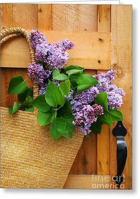 Barn Door Digital Greeting Cards - Lilacs in a straw purse Greeting Card by Sandra Cunningham