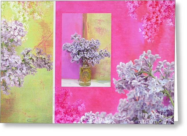 Award Mixed Media Greeting Cards - Lilacs In Bloom - Pink and Lavender Greeting Card by Anahi DeCanio - ArtyZen Studios