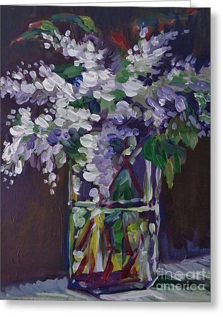 Lilacs In Crystal Greeting Card by Vanessa Hadady BFA MA