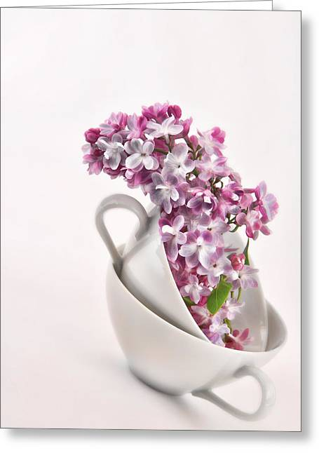 Interior Still Life Mixed Media Greeting Cards - Lilacs in Tea Cups Greeting Card by Vicki McLead