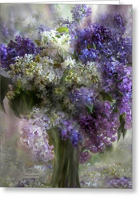 Florals Greeting Cards Greeting Cards - Lilacs Of Love Greeting Card by Carol Cavalaris